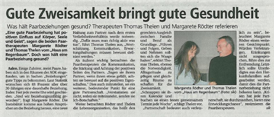 Zeitungsartikel Paartherapie